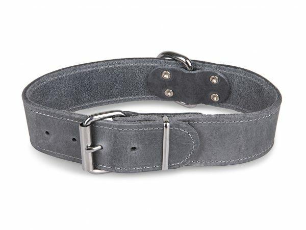 Halsband Large geolied leder grijs 55cmx40mm L