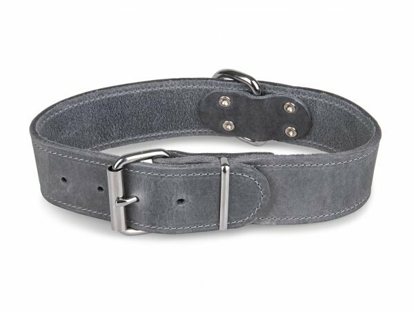 Halsband Large geolied leder grijs 45cmx30mm M-L