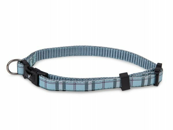 Halsband nylon Schotse Ruit blauw13-20cmx10mm XS