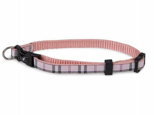 Halsband nylon Schotse Ruit roze 20-35cmx10mm S