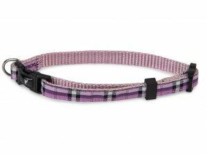 Halsband nylon Schotse Ruit paars13-20cmx10mm XS