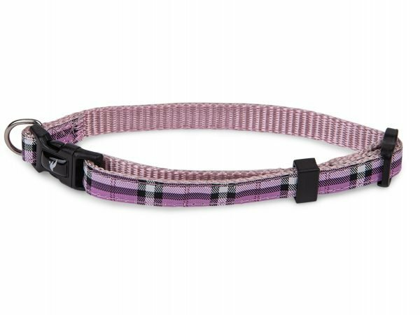 Halsband nylon Schotse Ruit paars20-35cmx10mm S