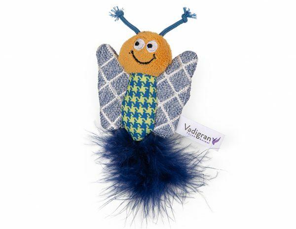 Speelgoed kat Fancy Vlinder grijs geruit 12cm