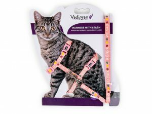 Harnas+Leiband Kitty Cat roze15-22/30-32cm+120cm