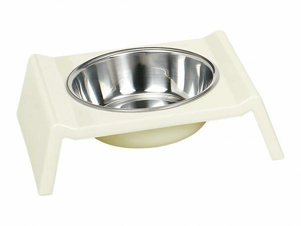 Eetpot hond inox/quatro melamine wit 22cm 0,35L