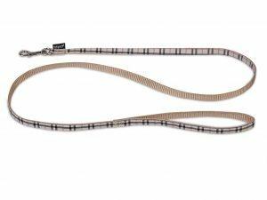 Leiband hond nylon Schotse Ruit beige 120cmx10mm S
