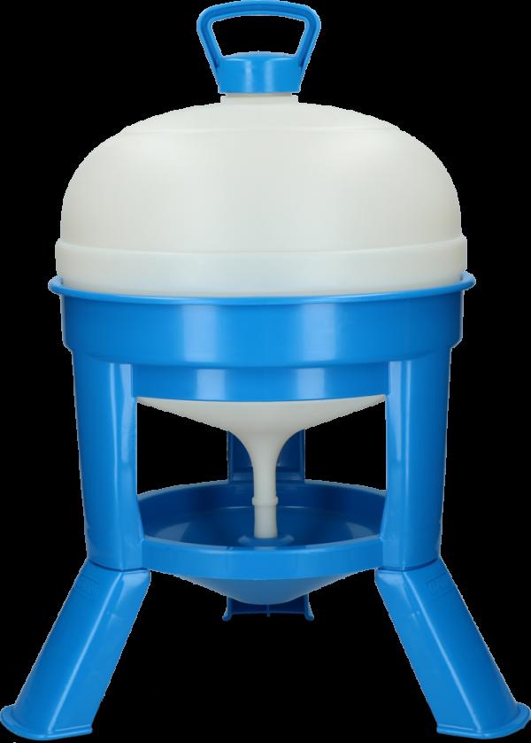 Pluimvee drinktoren 20 l blauw met sifon op pootjes