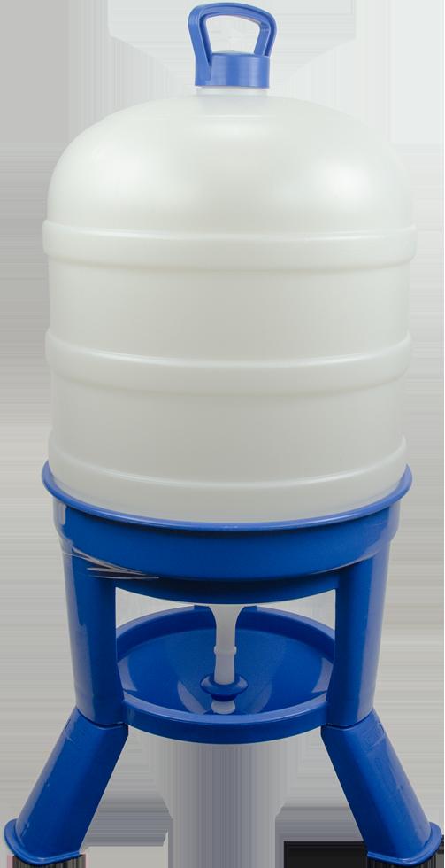 Pluimvee drinktoren 40 l blauw met sifon op pootjes