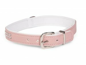 Halsband Crystal 2 rijen roze 42cmx17-19mm S-M