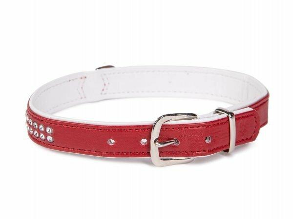 Halsband Crystal 2 rijen rood 42cmx17-19mm S-M