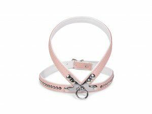 Harnas kunstleder Crystal roze 40cm S-M